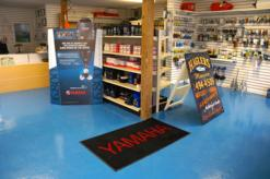 This is a picture of our fully stocked marine store. Complete with Yamaha parts and products.